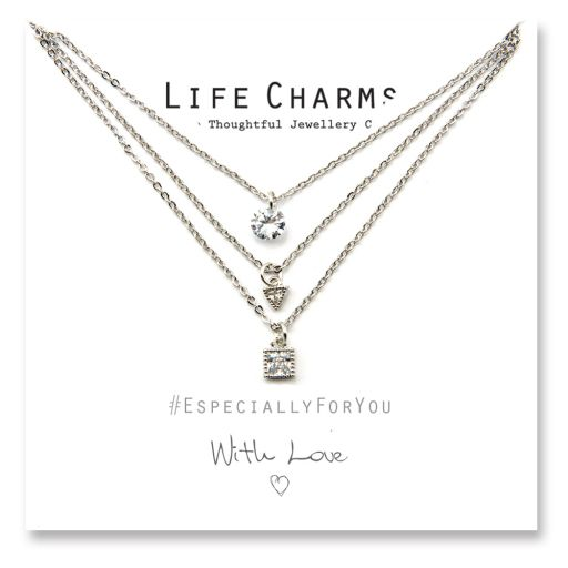 480519 - Life Charms - YY19 - Necklace 3 layer Crystal Cascade