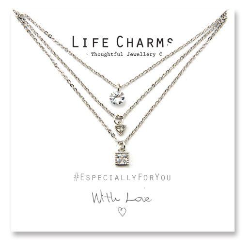Life Charms - EFYENC001SIL - EFY Rose Gold Heart & Silver Bracelet