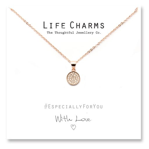 Life Charms - YY20 - Rose gold Pave Disc Necklace