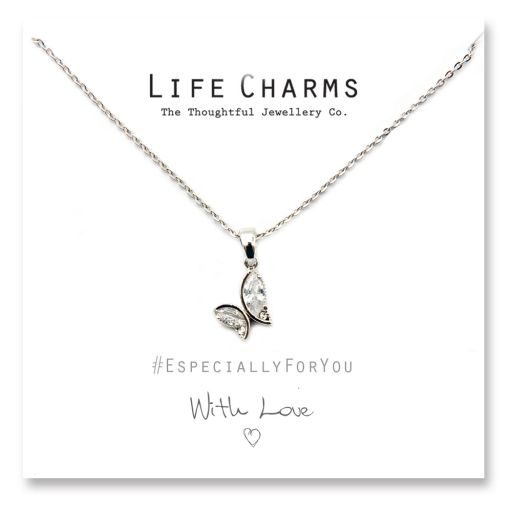 Life Charms - YY24 - Necklace Silver Crystal Butterfly